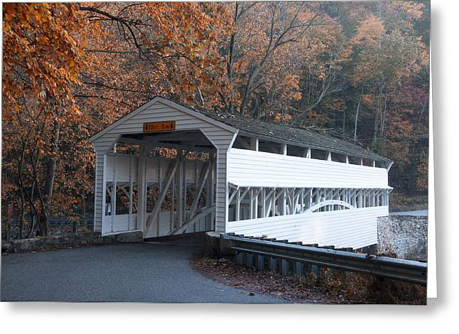 Autumn at Knox Covered Bridge in Valley Forge Greeting Card by Bill Cannon