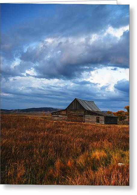 After Sunset Greeting Cards - Autumn at Mormon Row Barn Grand Teton National Park Greeting Card by Vishwanath Bhat