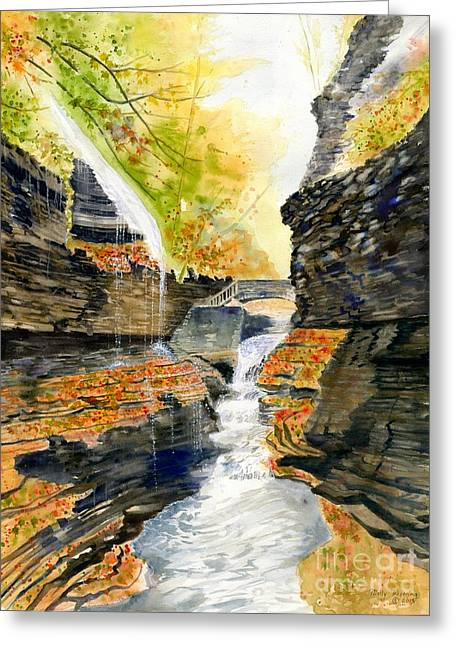 Finger Lakes Trail.rainbow Falls Greeting Cards - Autumn at Rainbow Falls  Greeting Card by Melly Terpening