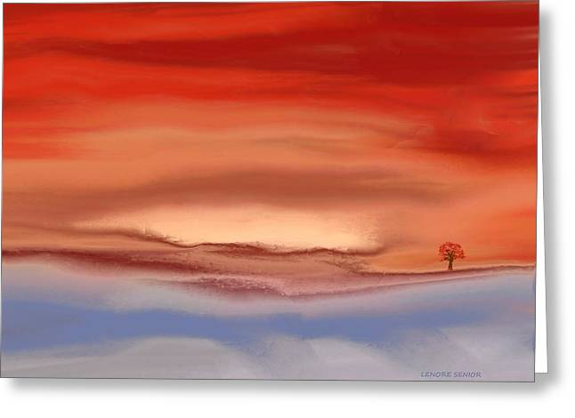 Abstract Expressionist Greeting Cards - Autumn at the Lake Greeting Card by Lenore Senior