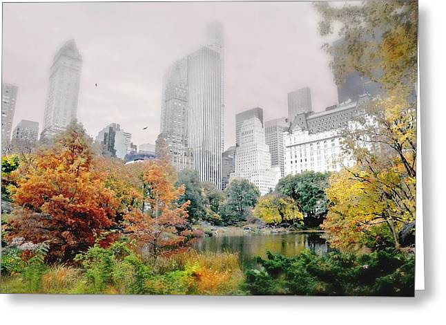 Autumn At The Pond Greeting Card by Diana Angstadt