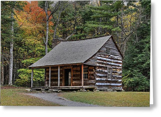 Autumn At The Shields Cabin In Cades Cove In The Great Smoky Mountains National Park Greeting Card by Carol R Montoya