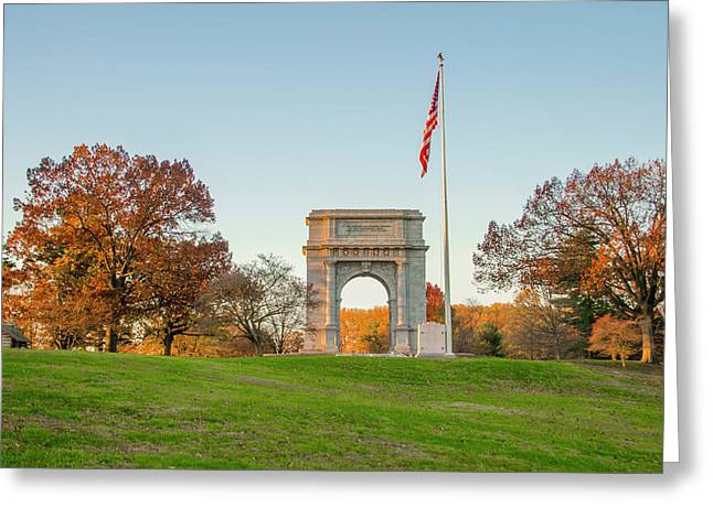 Autumn At The Valley Forge Arch Greeting Card by Bill Cannon
