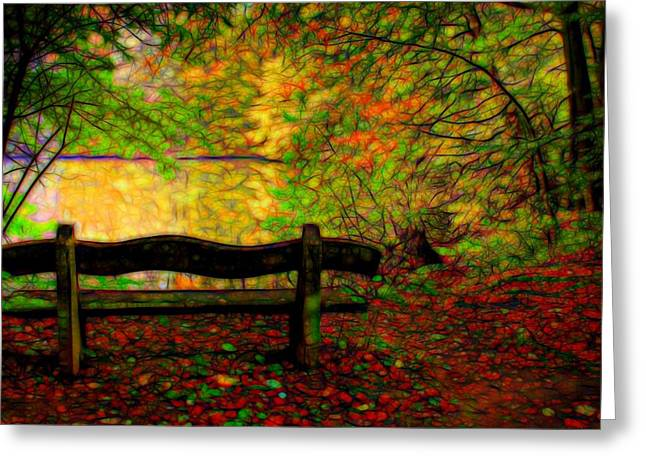 Pond In Park Mixed Media Greeting Cards - Autumn bench Greeting Card by Lilia D
