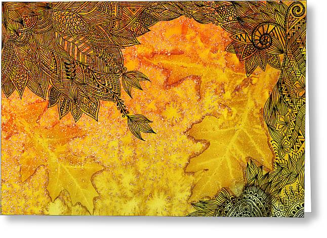 Pen And Paper Greeting Cards - Autumn Breeze I Greeting Card by Amrita Dutia
