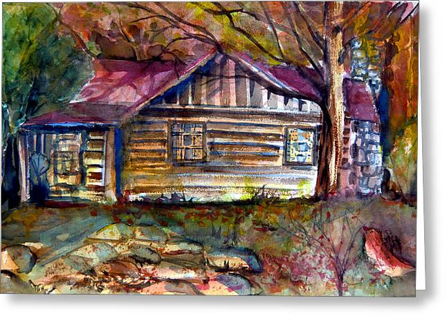 Pioneer Homes Drawings Greeting Cards - Autumn Cabin Greeting Card by Mindy Newman