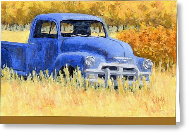 Forgotten Paintings Greeting Cards - Autumn Chevy Greeting Card by David King