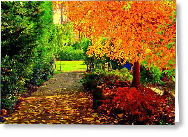 Ground Glass Art Greeting Cards - Autumn colors Greeting Card by Aron Chervin