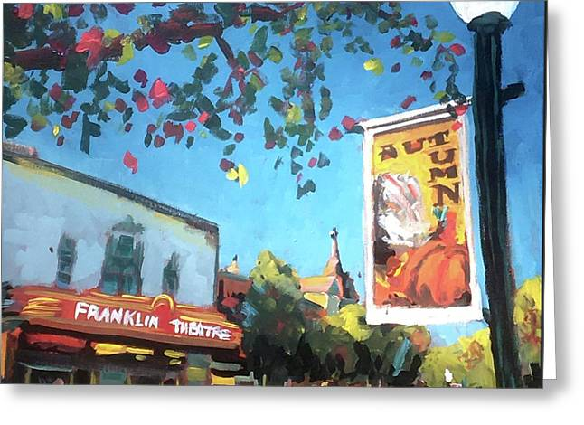 Autumn Comes To Franklin Greeting Card by Susan E Jones