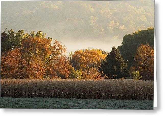 Cornfield Mixed Media Greeting Cards - Autumn Cornfield Greeting Card by Inspired Arts