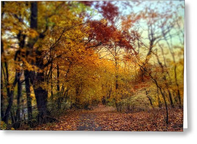 Colorful Trees Digital Greeting Cards - Autumn Crescendo Greeting Card by Jessica Jenney