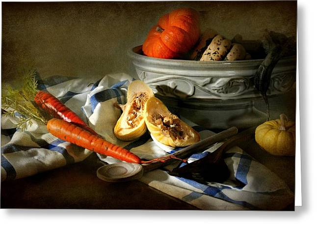 Cloth Greeting Cards - Autumn Crops Greeting Card by Diana Angstadt