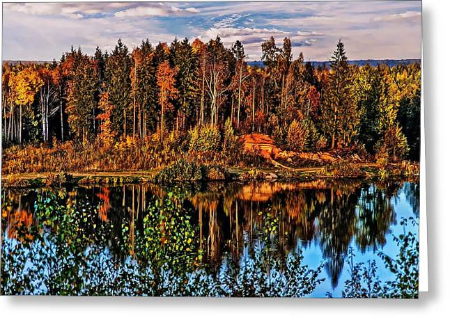On The Beach Greeting Cards - Autumn Day at the Lake Greeting Card by Alexey Bazhan