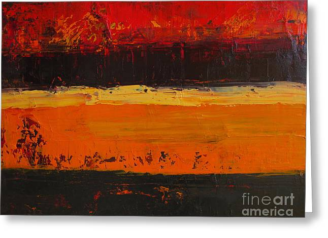 Horizontal Abstract Landscape Greeting Cards - Autumn Day Greeting Card by Patricia Awapara