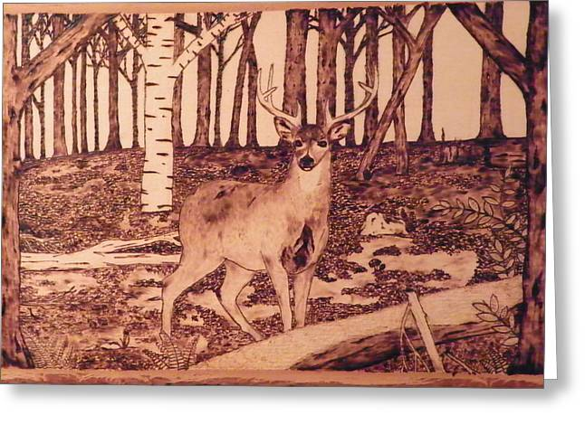 Bark Pyrography Greeting Cards - Autumn Deer Greeting Card by Andrew Siecienski