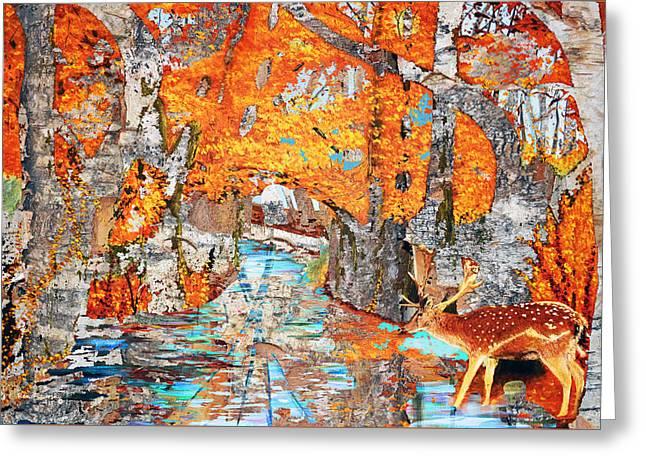 Autumn Deer Birch Background Greeting Card by Ken Figurski