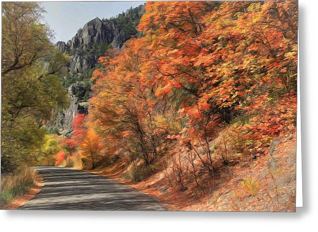 Greeting Cards - Autumn Drive In Logan Canyon Greeting Card by Donna Kennedy