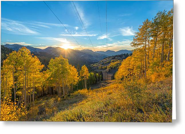 Powerline Greeting Cards - Autumn Evening at Guardsman Pass Utah Greeting Card by James Udall