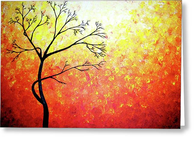 Red Abstract Sculptures Greeting Cards - Autumn Evening Greeting Card by Daniel Lafferty