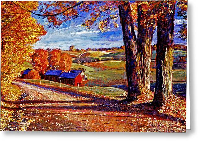 Fall Trees Greeting Cards - Autumn Evening Greeting Card by David Lloyd Glover