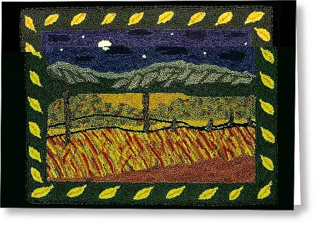 Primitive Tapestries - Textiles Greeting Cards - Autumn Fields Greeting Card by Jan Schlieper
