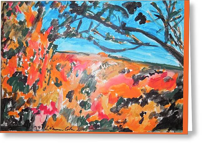 Landscape Framed Prints Greeting Cards - Autumn Flames Greeting Card by Esther Newman-Cohen