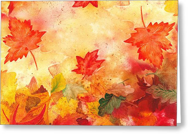 Red Fallen Leave Paintings Greeting Cards - Autumn Flow Greeting Card by Irina Sztukowski