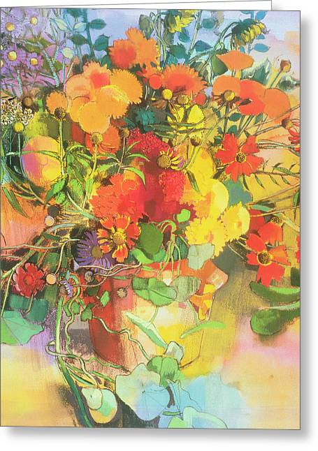 Cluttered Greeting Cards - Autumn Flowers  Greeting Card by Claire Spencer