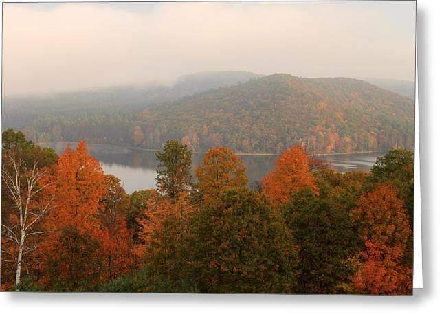 Autumn Fog At Quabbin Reservoir Greeting Card by John Burk
