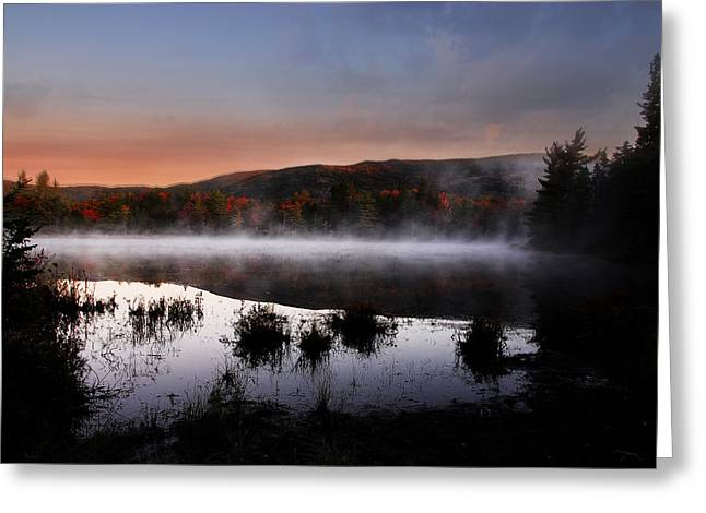 Reflections Of Sky In Water Digital Greeting Cards - Autumn Fog Greeting Card by William Carroll