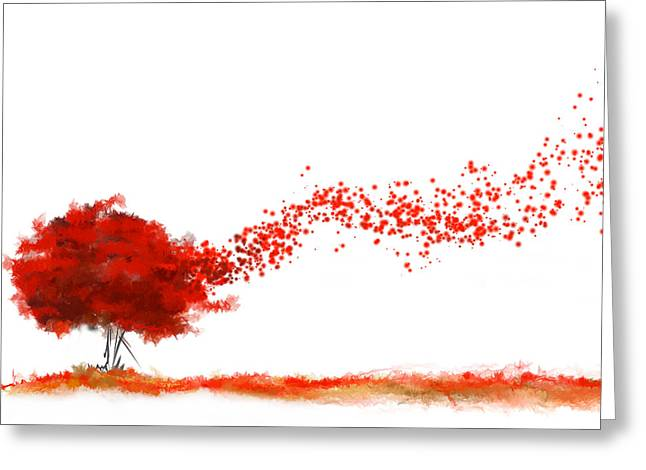 Shades Of Red Greeting Cards - Autumn Foliage Impressionist Greeting Card by Lourry Legarde