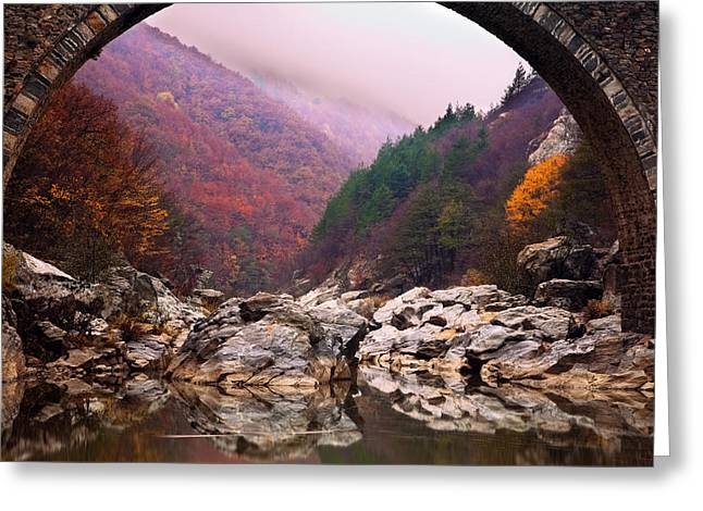 Arch Greeting Cards - Autumn Gate Greeting Card by Evgeni Dinev