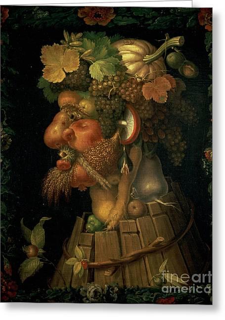 Arcimboldo; Giuseppe (1527-93) Greeting Cards - Autumn Greeting Card by Giuseppe Arcimboldo