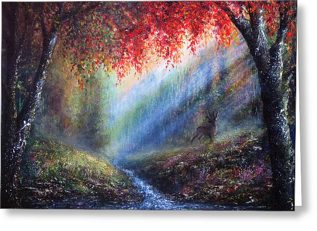 Kinkade Greeting Cards - Autumn Glory Greeting Card by Ann Marie Bone