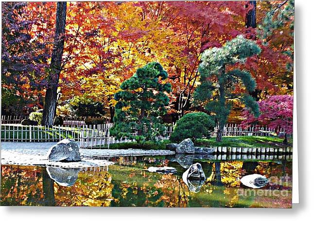 Bamboo Fence Greeting Cards - Autumn Glow in Manito Park Greeting Card by Carol Groenen