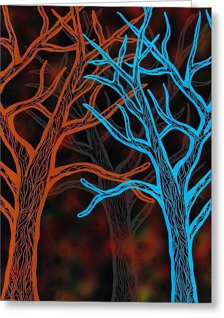 Bare Trees Mixed Media Greeting Cards - Autumn Glow Greeting Card by Jo-Anne Gazo-McKim