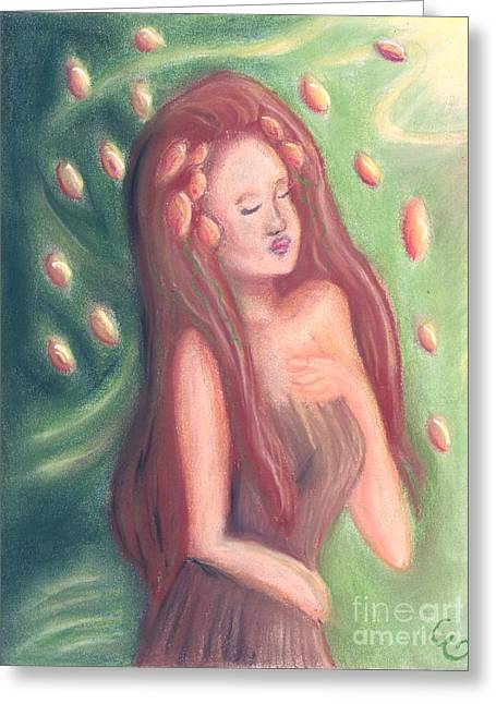 Beauty Pastels Greeting Cards - Autumn Goddess Greeting Card by Cassandra Geernaert