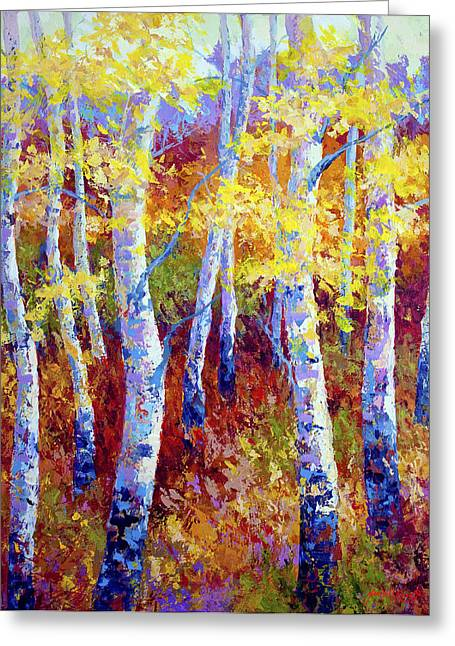 Birch Tree Greeting Cards - Autumn Gold Greeting Card by Marion Rose