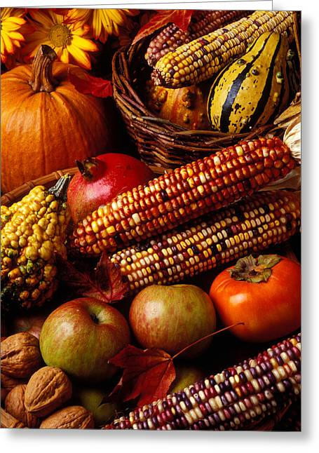Basket Photographs Greeting Cards - Autumn harvest  Greeting Card by Garry Gay