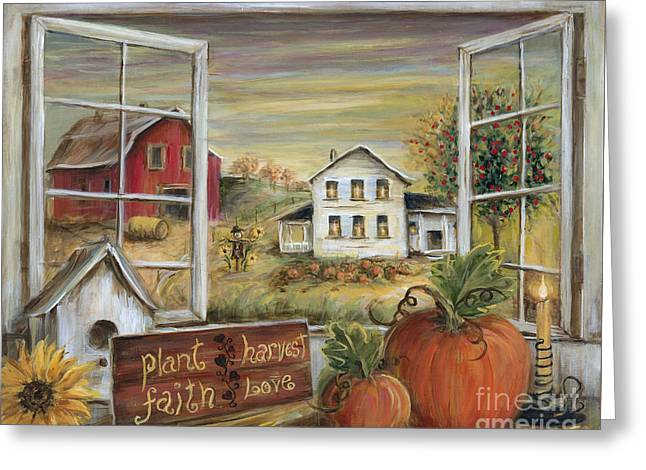 Scarecrow Greeting Cards - Autumn Harvest Greeting Card by Marilyn Dunlap