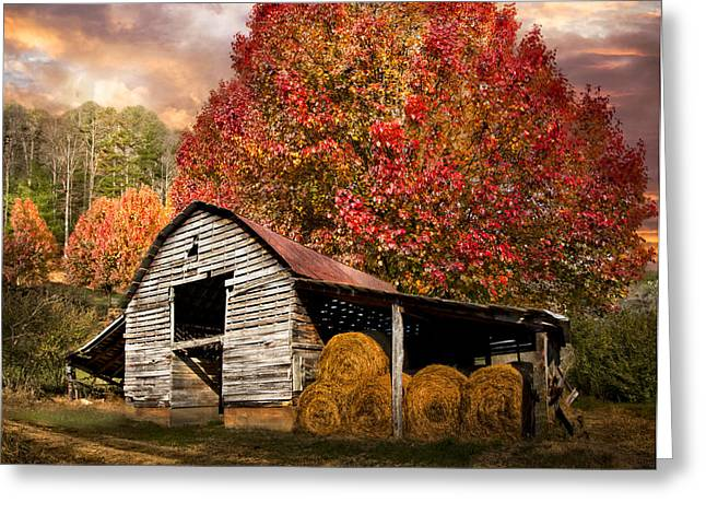 Hay Bales Greeting Cards - Autumn Hay Barn Greeting Card by Debra and Dave Vanderlaan