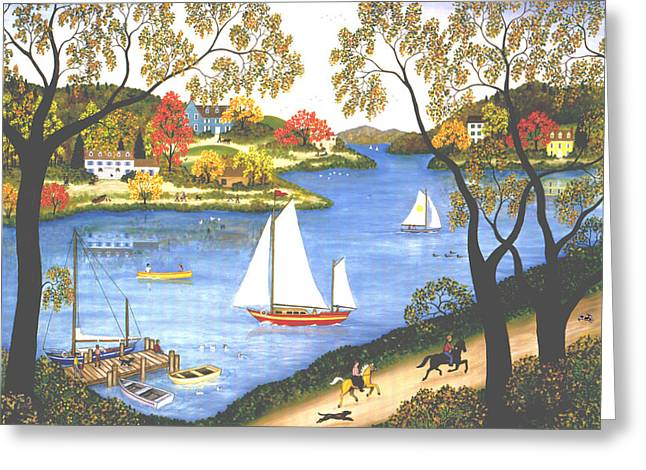 Autumn River Landscape Greeting Card by Linda Mears
