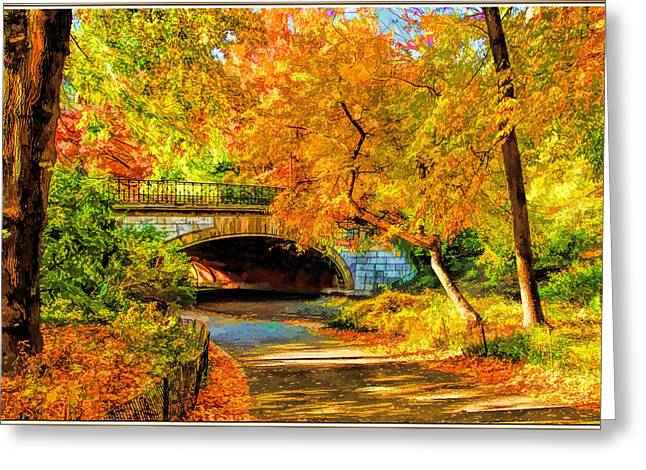 Fall Trees Greeting Cards - Autumn in Central Park  Greeting Card by Geraldine Scull