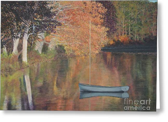Recently Sold -  - Yellow Sailboats Greeting Cards - Autumn in Hamburg Cove Greeting Card by Cindy Lee Longhini