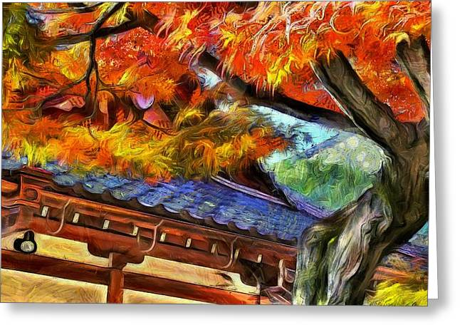 Kyoto Digital Greeting Cards - Autumn in Kyoto Greeting Card by Jean-Marc Lacombe