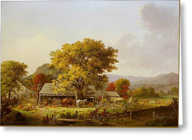 Autumn In New England, Cider Making Greeting Card by George Henry Durrie