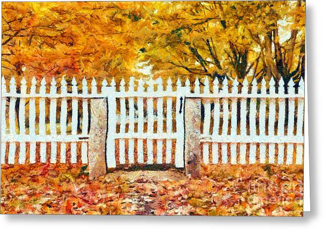 White Picket Fence Greeting Cards - Autumn in New England Greeting Card by Edward Fielding