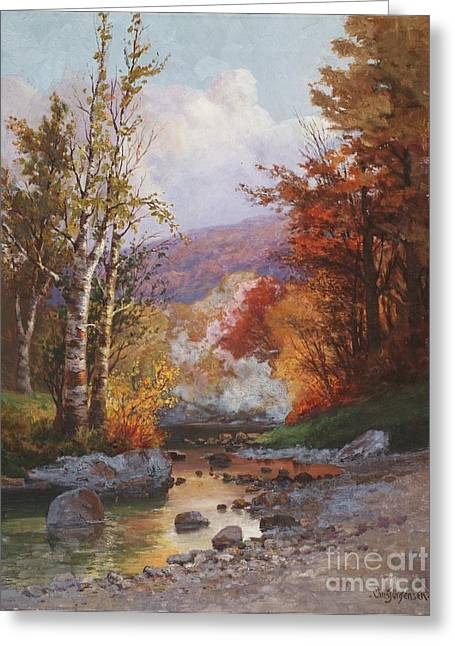 Stream Greeting Cards - Autumn in the Berkshires Greeting Card by Christian Jorgensen