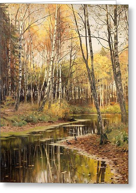Autumn Leaf On Water Paintings Greeting Cards - Autumn In The Birchwood Greeting Card by Peder Mork Monsted