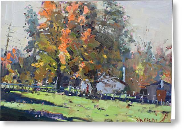 Autumn In The Farm Greeting Card by Ylli Haruni